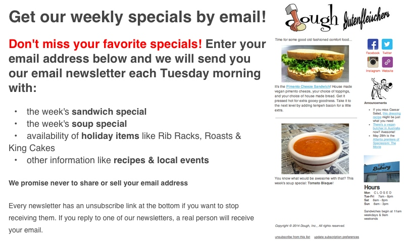 Get an email announcing our weekly specials every Tuesday morning. Just subscribe below